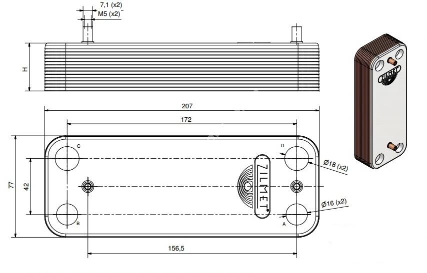 17B2071400 Теплообмінник вторинний ГВП 14 пластин BAXІ, ZILMET full-image-2