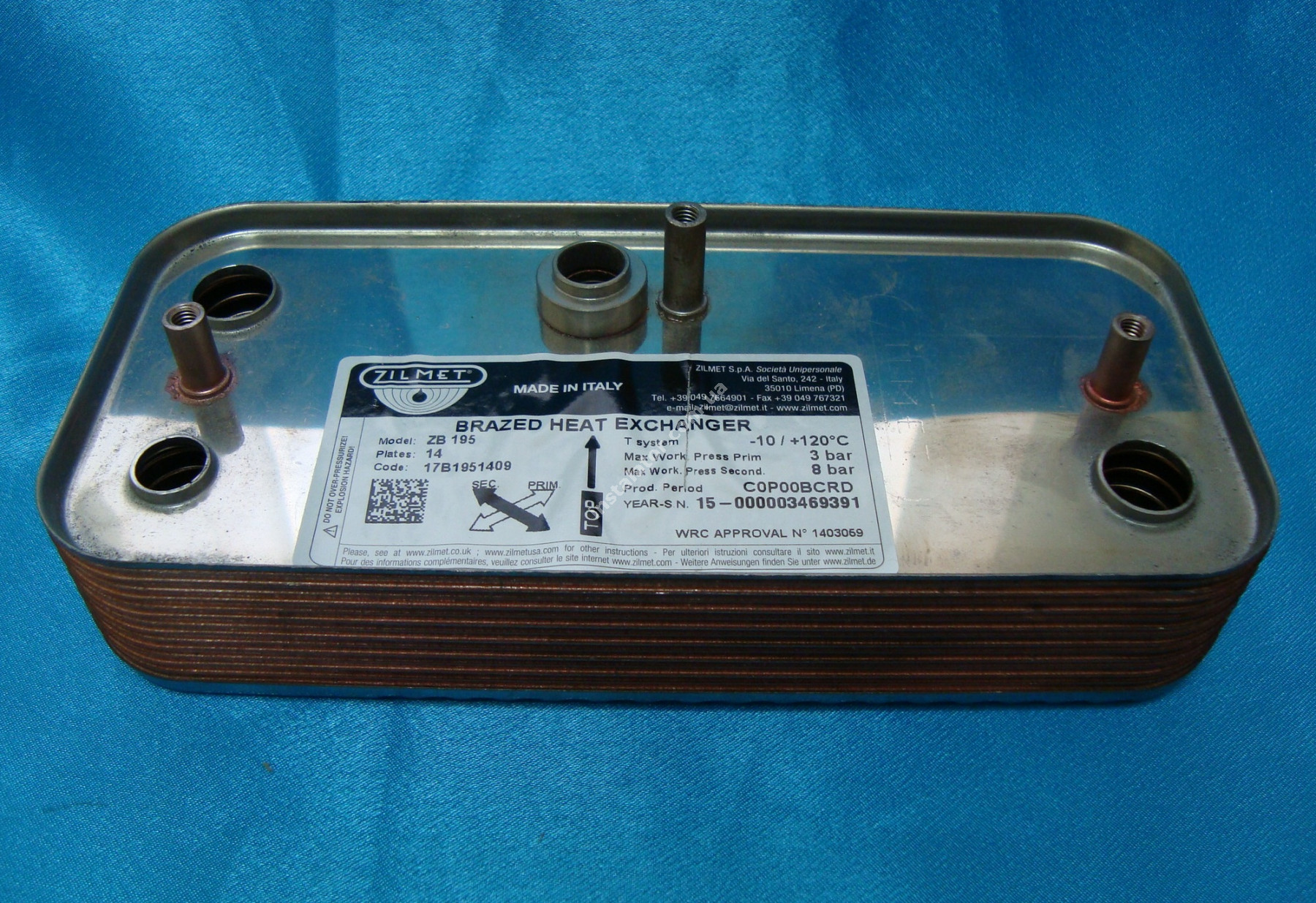 17B1951409 Теплообмінник вторинний Zilmet /SIME Format. Zip BF 14 пластин  full-image-0