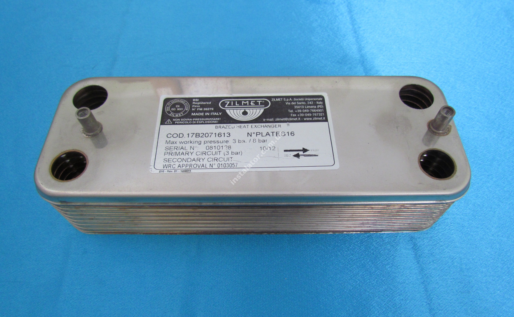 17B2071613 Теплообмінник вторинний ГВП 16 пластин SAUNIER DUVAL, ZILMET full-image-1