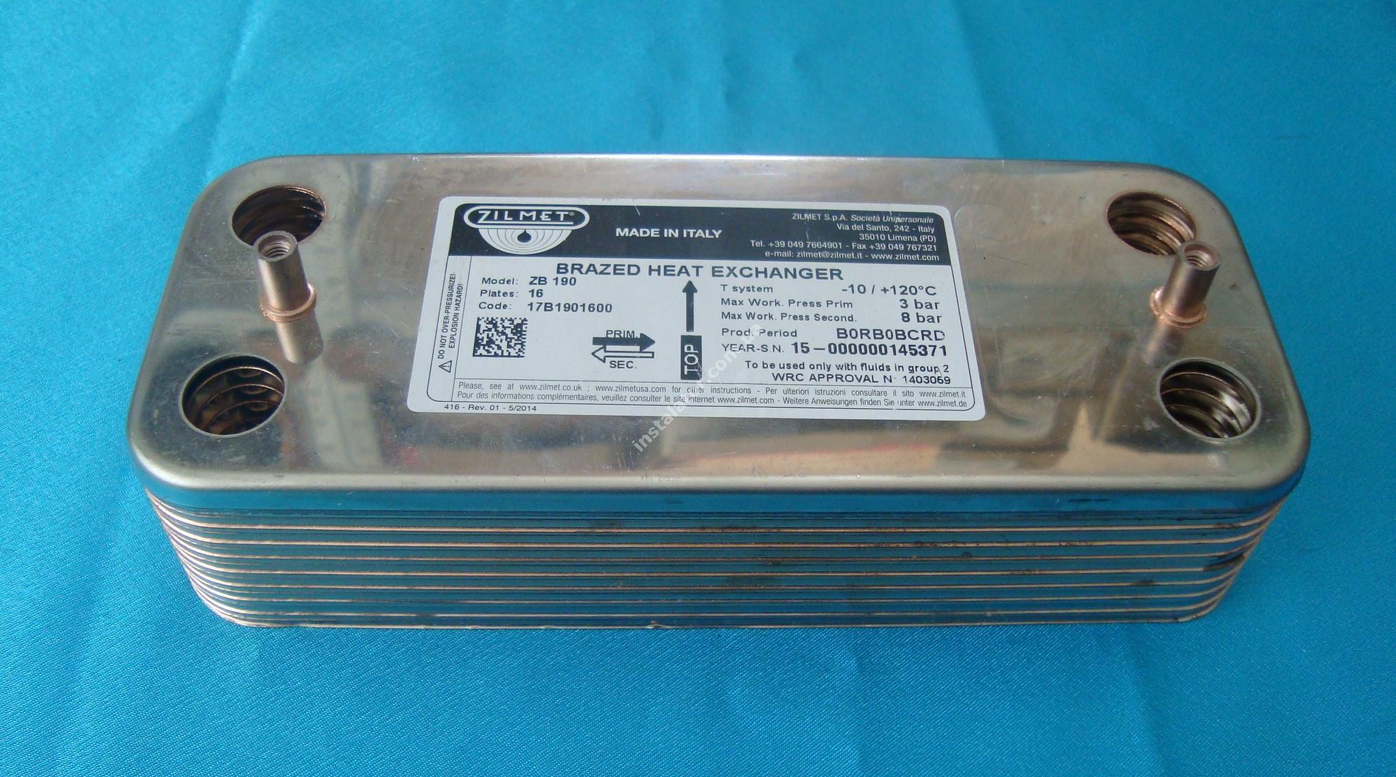 17B1901600 Теплообмінник вторинний ГВП 16 пластин ZILMET