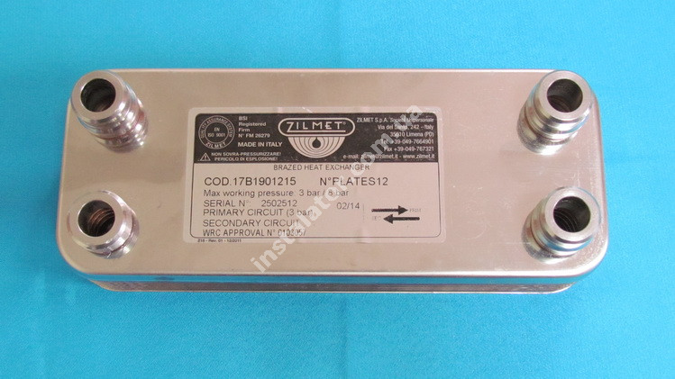 17B1901215 Теплообмінник вторинний (ГВП) 12 пластин ZILMET full-image-1