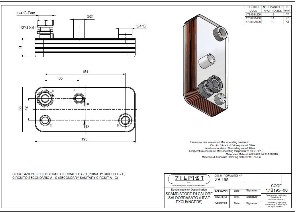 17B1951400 Теплообмінник вторинний ГВП 14 пластин ZILMET full-image-2