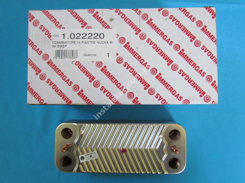 1.022220 Теплообмінник вторинний ГВП 14 пластин IMMERGAS Nike Mini 24 kw, Eolo Mini 24 kw, Victrix 24 kw full-image-0