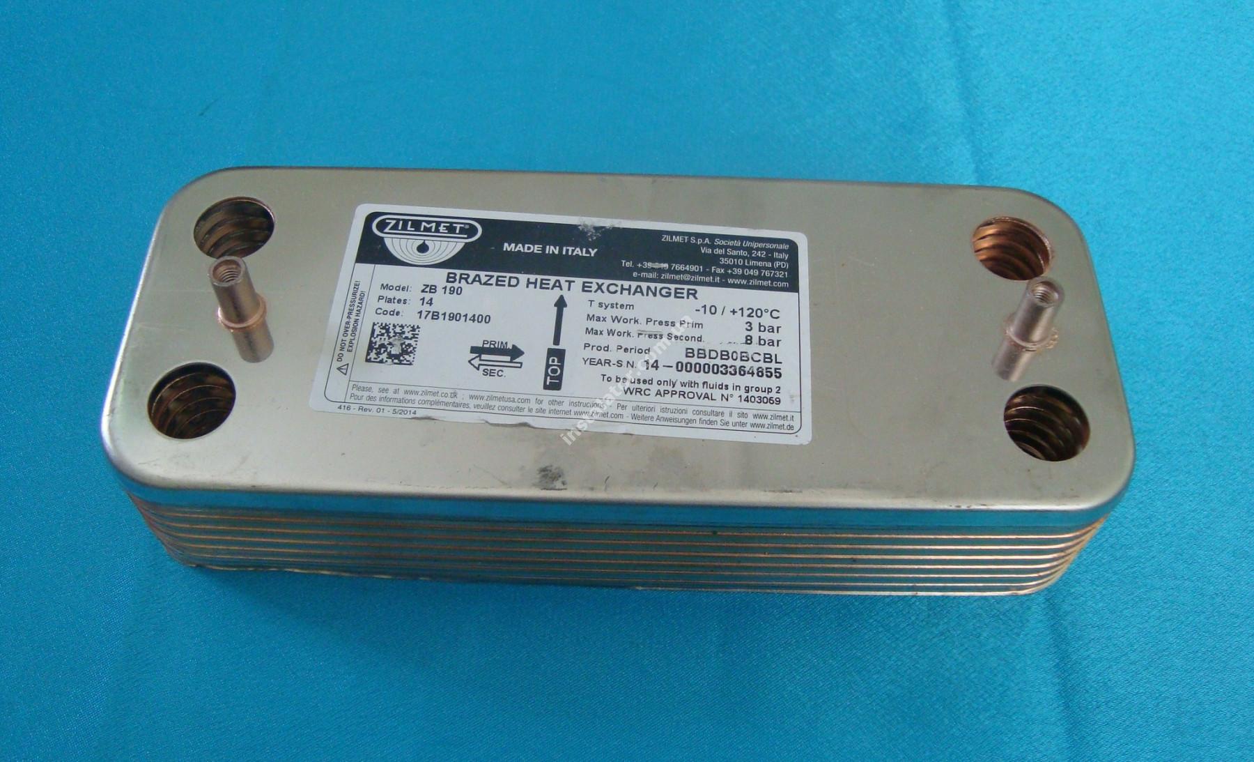 17B1901400 Теплообмінник вторинний (ГВП) 14 пластин ZILMET full-image-1