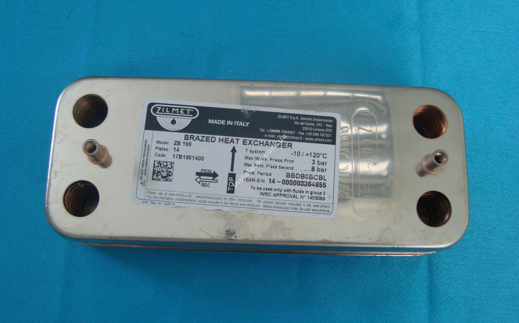 17B1901400 Теплообмінник вторинний (ГВП) 14 пластин ZILMET full-image-0