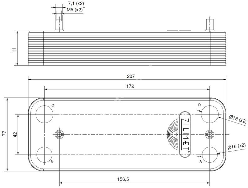 17B2071200 Теплообмінник вторинний ГВП 12 пластин BAXI, ZILMET full-image-3