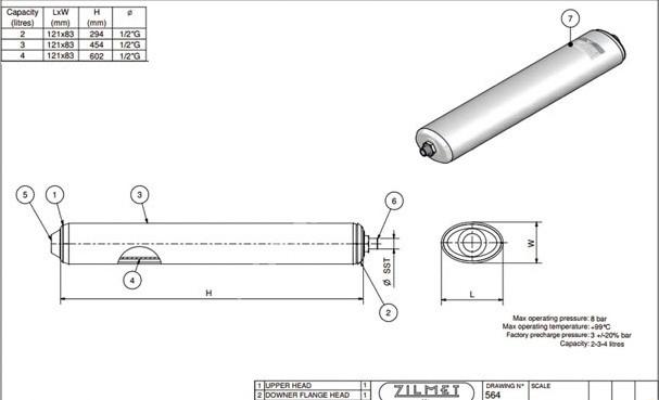 """1500000213 Бак розширювальний 2 л OEM-Pro 1/2"""" трубчатого типу 564 ZILMET"""